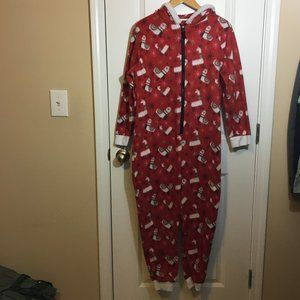 Christmas Llama Fleece Pajama Onsie with Hood M